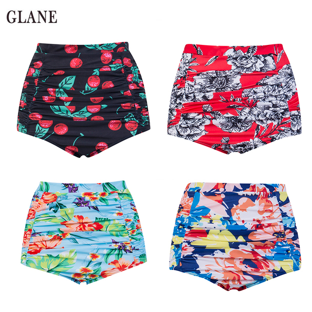 9a679ebfc2 2017 New Hot Sexy Women Retro Floral Printed High Waist Bikini Bottom  Shorts Swimwear Female Swim trunks Bathing Beachwear