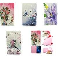 Đối Với Samsung Galaxy Tab Một 10.1 A6 T585 T585C T580 T580N Tablet Dễ Thương Girl Flower PU Leather Wallet Lật Trường Hợp Thẻ Đứng ch