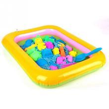 نفخ الرمال صينية البلاستيك المحمول الجدول للأطفال أطفال داخلي اللعب الرمال الطين اللون الطين اللعب الملحقات