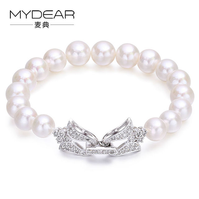 MYDEAR Pearls Bracelet Jewelry 925 Sterling Silver Bracelet Bangle With Pearl,Farmed 9-10mm Freshwater Pearl,7.1inch,High Luster