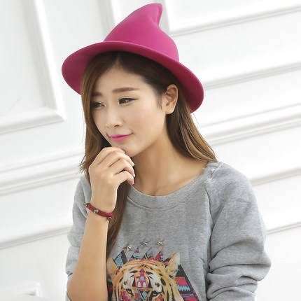 6db2c116f10 Korean Style Soft Cute Tip Top Caps 100% Pure Wool Felt Fedora Hats Women  Witch Magic Floppy Hat Adorable Cap Headgear-in Fedoras from Apparel  Accessories ...