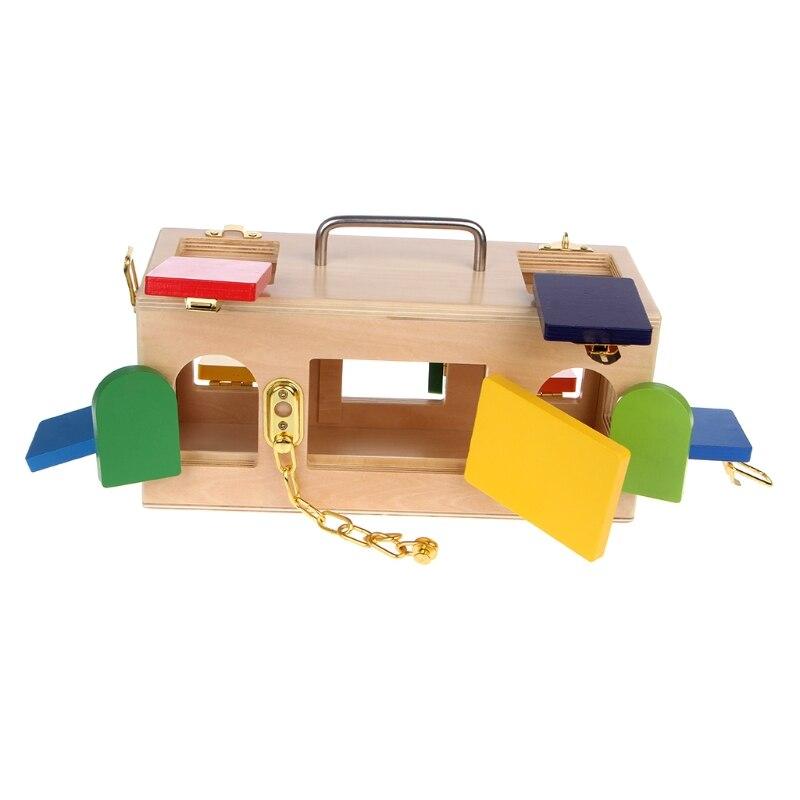 Montessori coloré serrure boîte enfants enfants éducatifs préscolaire formation jouets 95AE - 5