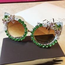 Brand Design Handmade Rhinestone Cat Eye Sunglasses Fashion Glasses Women Flower with Pearl Round Vintage Beach Party