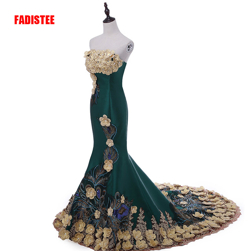 New arrival luxury party   evening     dress   Vestido de Festa A-line strapless satin appliques gold flowers lace-up long style   dress