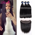 Malaysian Straight Hair 3 Bundles With Lace Frontal Closure Malaysian Virgin Hair With Closure Human Straight Hair With Frontal