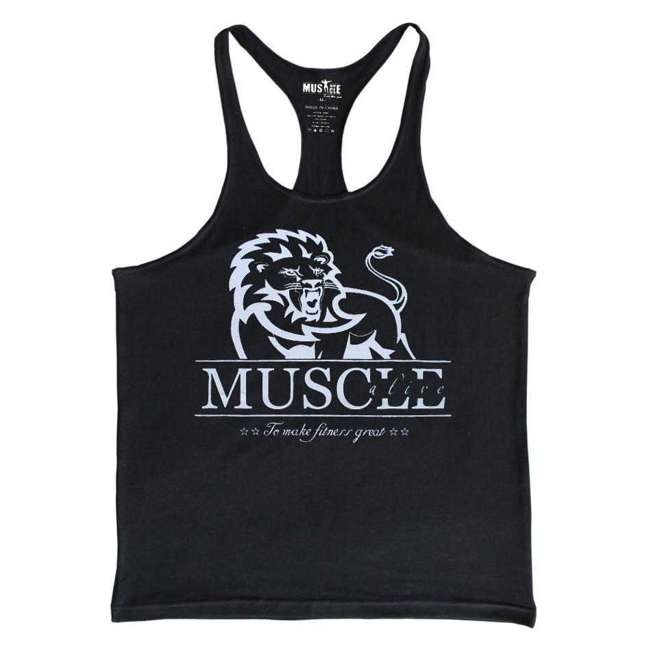 Marca Homens de Fitness Musculação Longarina Muscular Regata Leão ... 3282533dedb