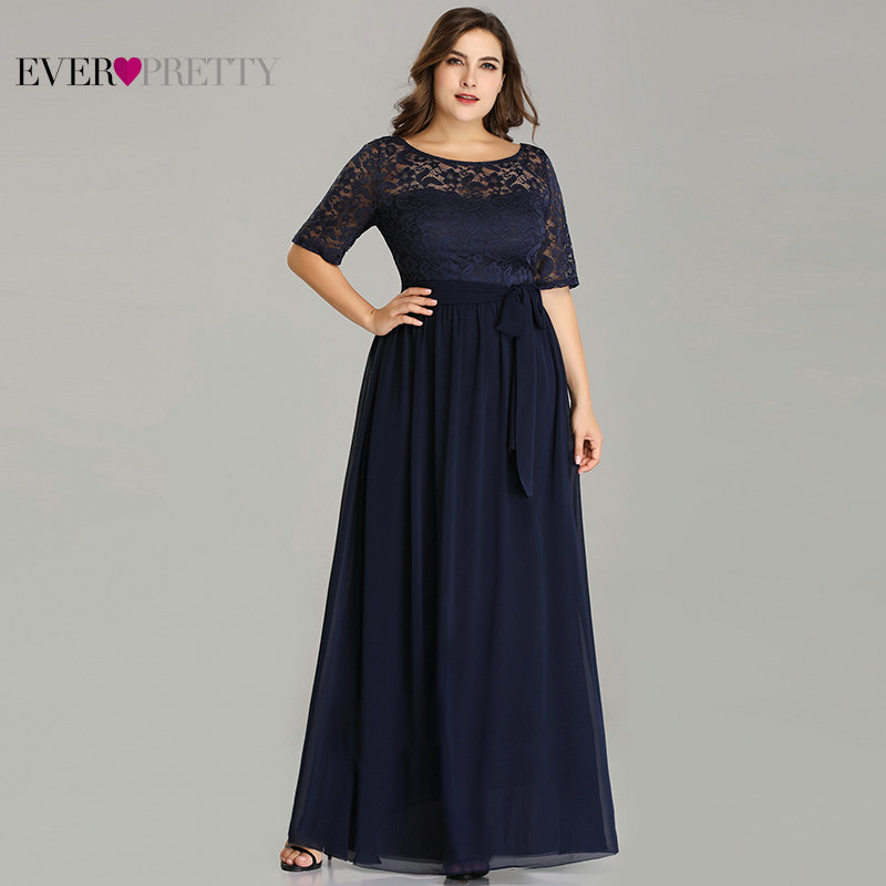 Robe De Soiree Ever Pretty EZ07624 Winter Half Sleeve Lace A-line Chiffon Plus Size Evening Dresses Long Navy Blue Formal Dress
