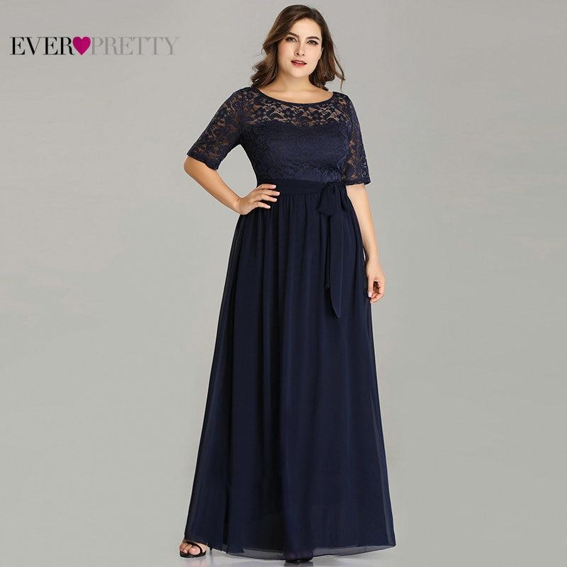 Robe De Soiree Ever Pretty EZ07624 Winter Half Sleeve Lace A-line Chiffon Plus Size Evening Dresses Long Navy Blue Formal Dress