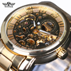 Vintage Men Wristwatch Skeleton Clock Male Stainless Steel Strap Antique Steampunk Casual Automatic Skeleton Mechanical Watches