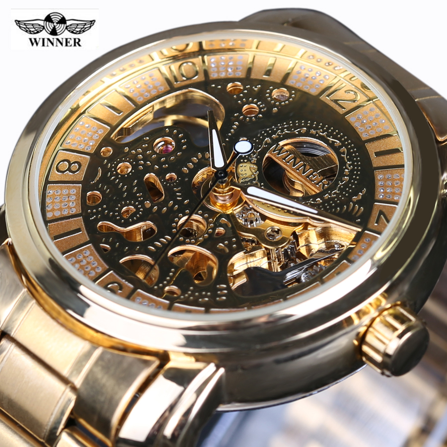 Vintage Men Wristwatch Skeleton Clock Male stainless steel Strap Antique Steampunk Casual Automatic Skeleton Mechanical Watches vintage bronze men wristwatch skeleton clock male leather strap antique steampunk casual automatic skeleton mechanical watches