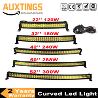 22 32 42 50 52 Inch Curved Fog Light Yellow Led Bar Driving Lamp Offroad Work Light Bar For Jeep ATV Car SUV Motorcycle Truck