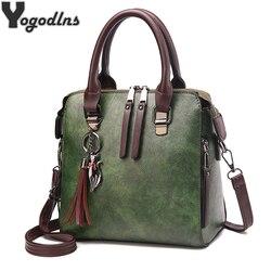 Винтаж кожаные женские сумки Для женщин Курьерские сумки TotesTassel дизайнер Crossbody сумка Бостон сумки Лидер продаж