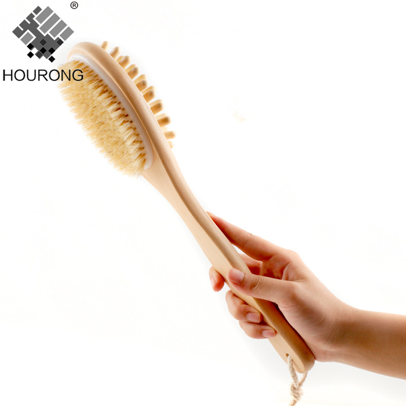 1PC 35cm 2-in-1 Sided Natural Bristles Scrubber Long Handle Wooden SPA Shower Brush Bath Body Massage Brushes Back Easy Clean