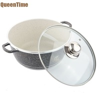 QueenTime Aluminum 9 5 Cooking Pot With Glass Lid Non Stick Coating Black Soup Pots Professional