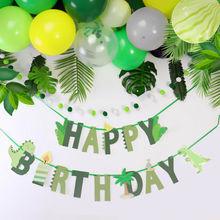 Dżungla strona dekoracji balon w kształcie dinozaura szczęśliwy papier prezentowy Garland Banner Baby Shower dzieci urodziny zaopatrzenie imprezy dinozaurów