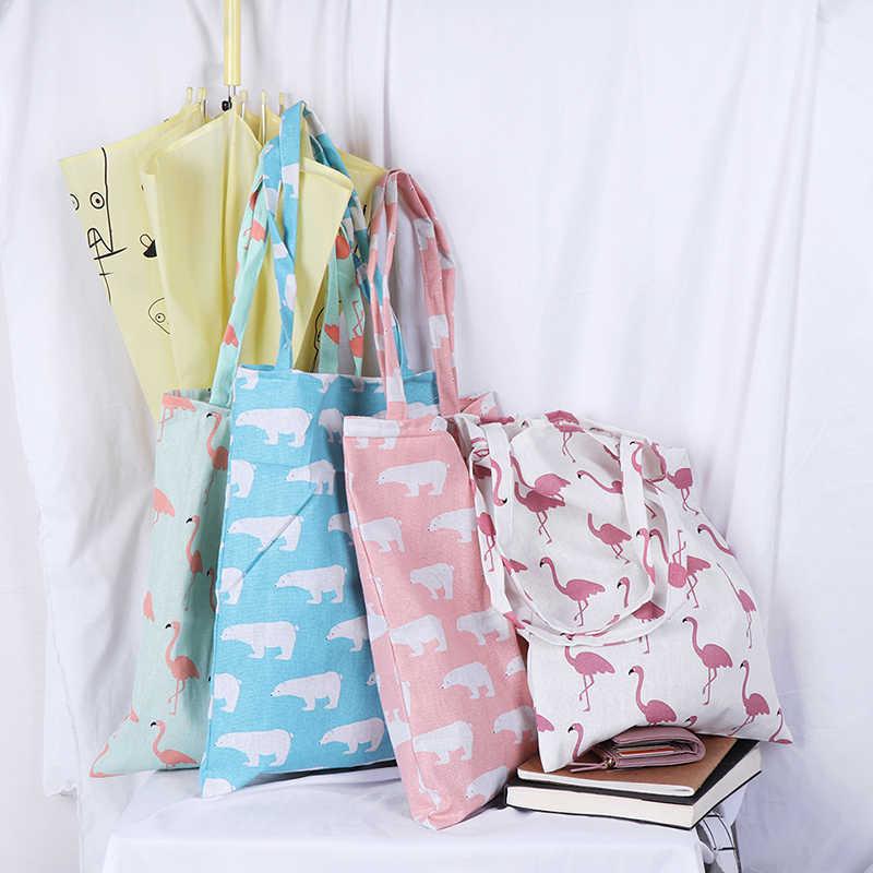 1 Pcs Eco Hoge Capaciteit Boodschappentassen Dier Print Shopping Tote Strand Handtas Katoen Vrouwen Casual Herbruikbare Boodschappentas