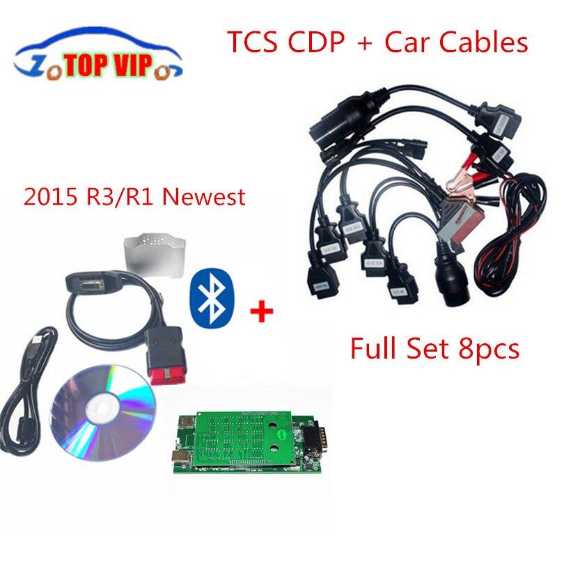 Prix pour Chaude!!! CDP pro + 8 câbles de voiture Automatique De Diagnostic-Outil 2015 R3 Keygen TCS CDP PRO Bluetooth Nouvelle VCI TCS CDP PRO PLUS Scanner