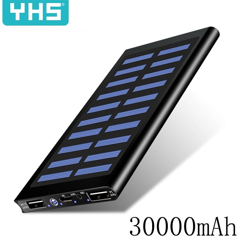 Solar 30000mah Power Bank External Battery 2 USB LED Powerbank Portable Mobile Phone Solar Charger For Xiaomi Iphone 7 8 Samsung