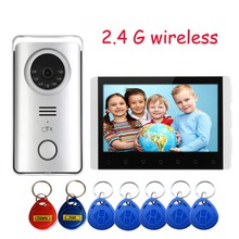 Digital wireless video intercom doorbell camera and DVR system 7 inches 2.4 g wireless camera security system ID card  open