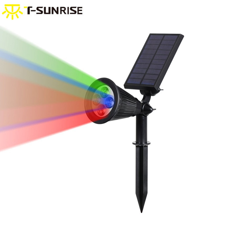 T-SUNRISE Outdoor Lighting 4 LED Solar Powered Light Adjustable LED Solar Landscape Lamp For Garden RGB Color