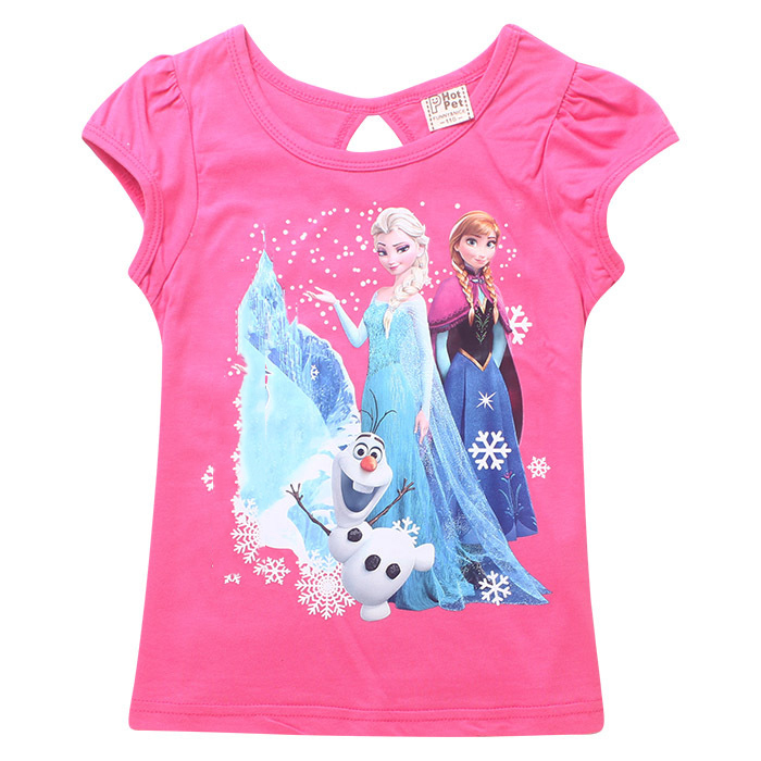 2015 New Summer Baby Girls T Shirts Elsa Anna 3D Cartoon Clothing Toddler Kids Clothes Infantil Cotton Short Sleeve In Tees From Mother On