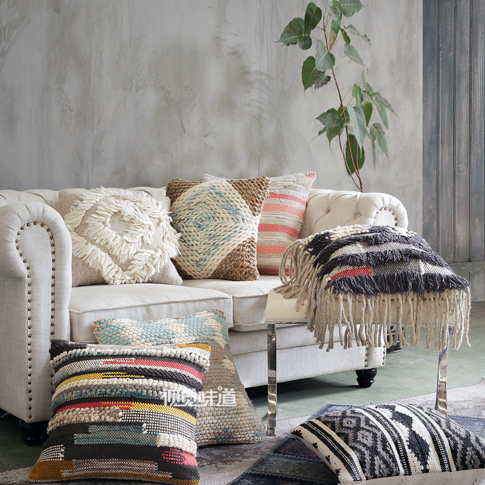 Hand Woven Wool Throw Cushion Cover Cotton Linen Sofa