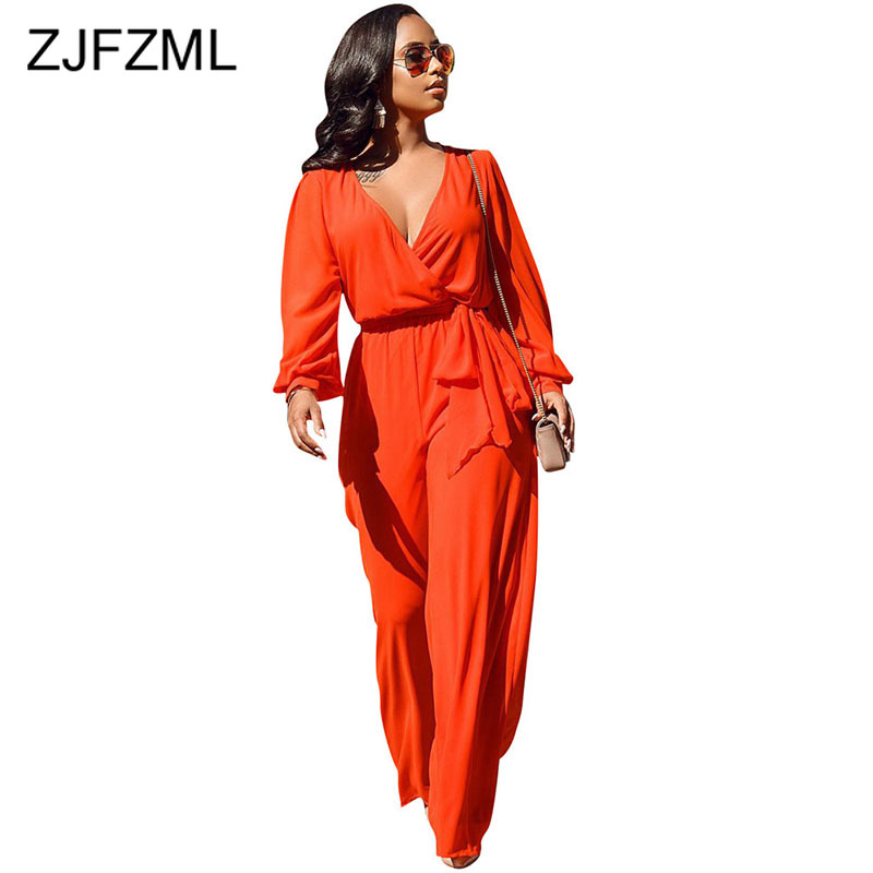 Long Sleeve Rompers Womens Jumpsuit Elegant Deep V Neck Lantern Sleeve Wide Leg Overall Casual Orange Sashes One Piece Bodysuit