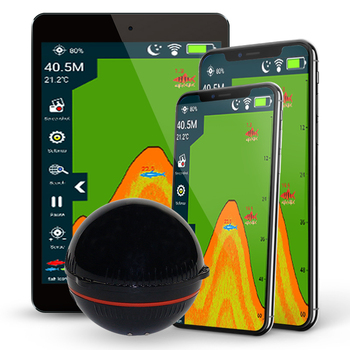 Erchang Fish Finder Portable Wireless Sonar 48M/160ft Depth Lake Fish Detect Professional Fish Finder With Attracting Fish lamp bluetooth fish finder sea fish detect device for ios for android 25m 80ft sonar fishfinder wireless fishing detector top quality