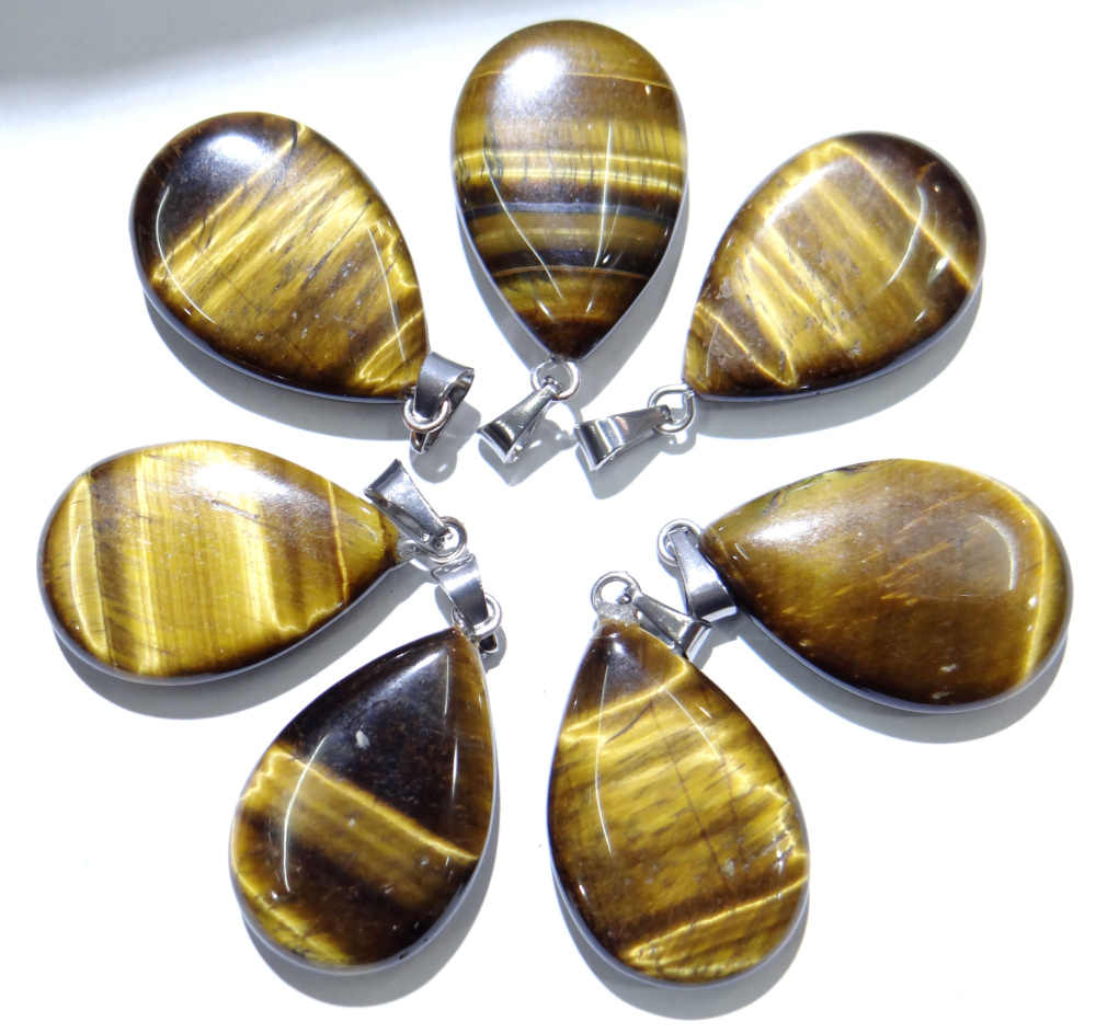 หินธรรมชาติคริสตัลควอตซ์ lapis โอปอล Turquoises tiger eye water drop จี้สำหรับ diy เครื่องประดับทำสร้อยคอ Accessories24PCs