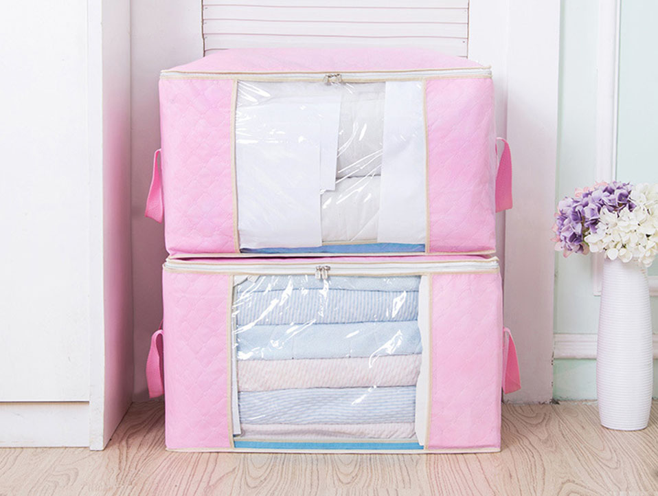 New Non-woven Portable Clothes Storage Bag Organizer 45.54022cm Folding Closet Organizer For Pillow Quilt Blanket Bedding Case (12)