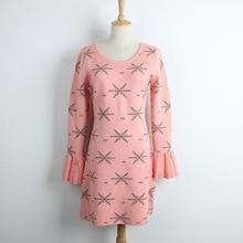 Плиссированные расклешенными рукавами Круглый воротник вязаное розовое платье
