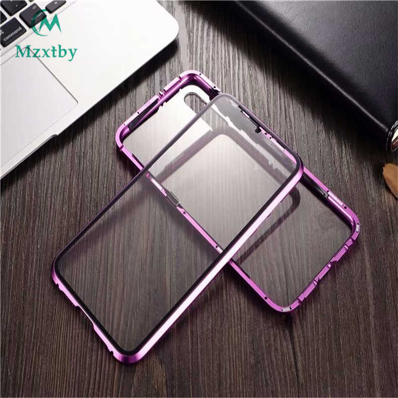 Magnetic Flip Case 360 Front+Back double-sided 9H Tempered Glass Case Shockproof Cover For Xiaomi MI 9 Metal Bumper for Xiaomi