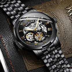 BINGER Watch Men Classic design small seconds hand Automatic Mechanical Black Skeleton Vintage Man Clock Mens Switzerland Watch
