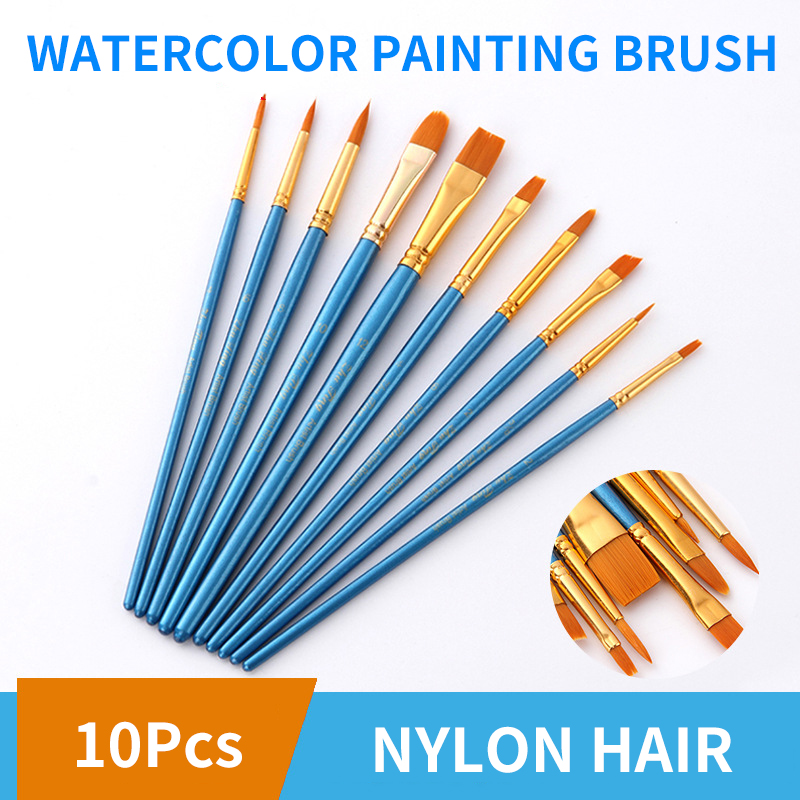 10pcs/Set Watercolor Paint Brush Set Different Shape Flat Round Pointed Tip Nylon Hair Watercolor Painting Brush Art Supplies