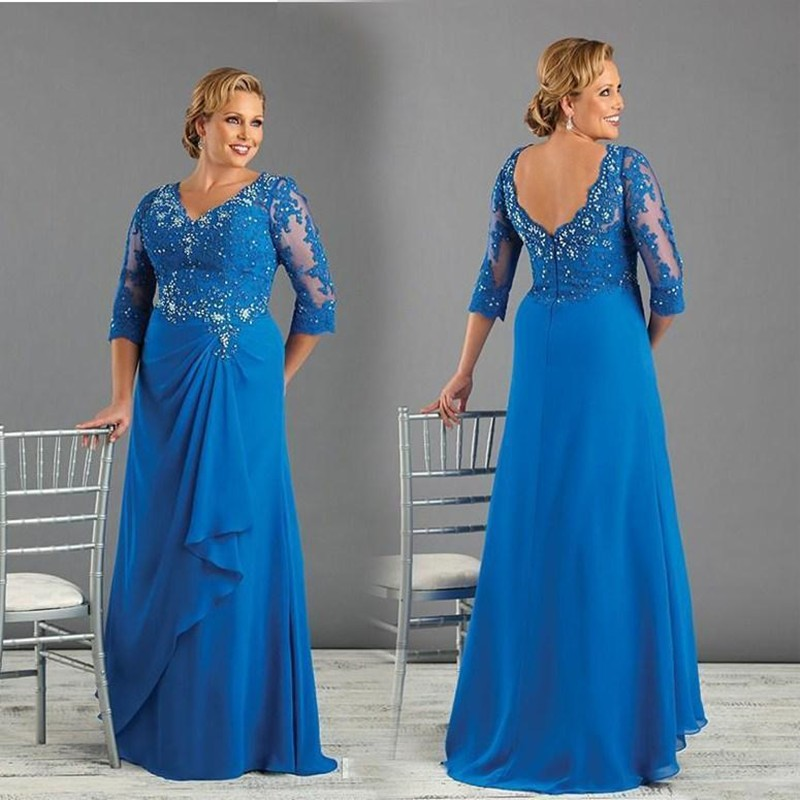 Royal Blue Long Chiffon Mother of the Bride Dresses 3/4 Sleeves with Sequin  Beaded Mother of Groom Wedding Party Gown Plus Size