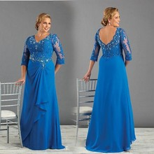 Royal Blue Long Chiffon Mother of the Bride Dresses 3/4 Sleeves with Sequin Beaded Groom Wedding Party Gown Plus Size