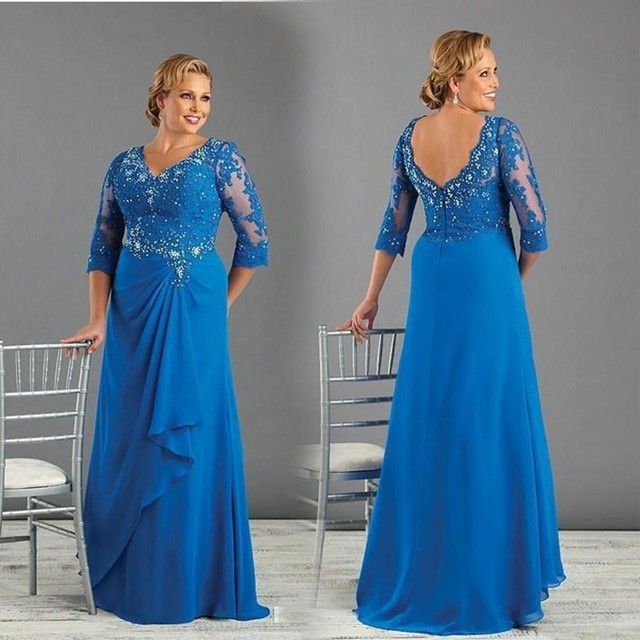Royal Blue Long Plus Size Wedding Dresses with Sleeves