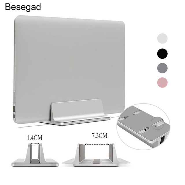 Besegad Vertical Adjustable Laptop Stand Aluminium Portable Notebook Mount Erected Support Holder for MacBook Pro Air Accessory