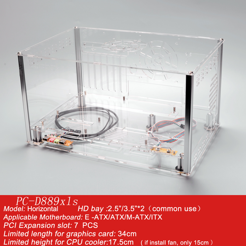 QDIY PC-D889XLS  Personalized Horizontal E-ATX HTPC Acrylic Transparent Clear Desktop PC Water Cooled Computer Case Chassis new fan e i5 aluminum htpc computer case e350 h61 hd perfect match i3 i7 e i5