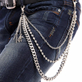 Men Punk Silver Metal Skull Hand Pendant Wallet Key Chains 3 Layers Trousers Jeans Chain Stainless Steel Ball Waist Chain KB-30