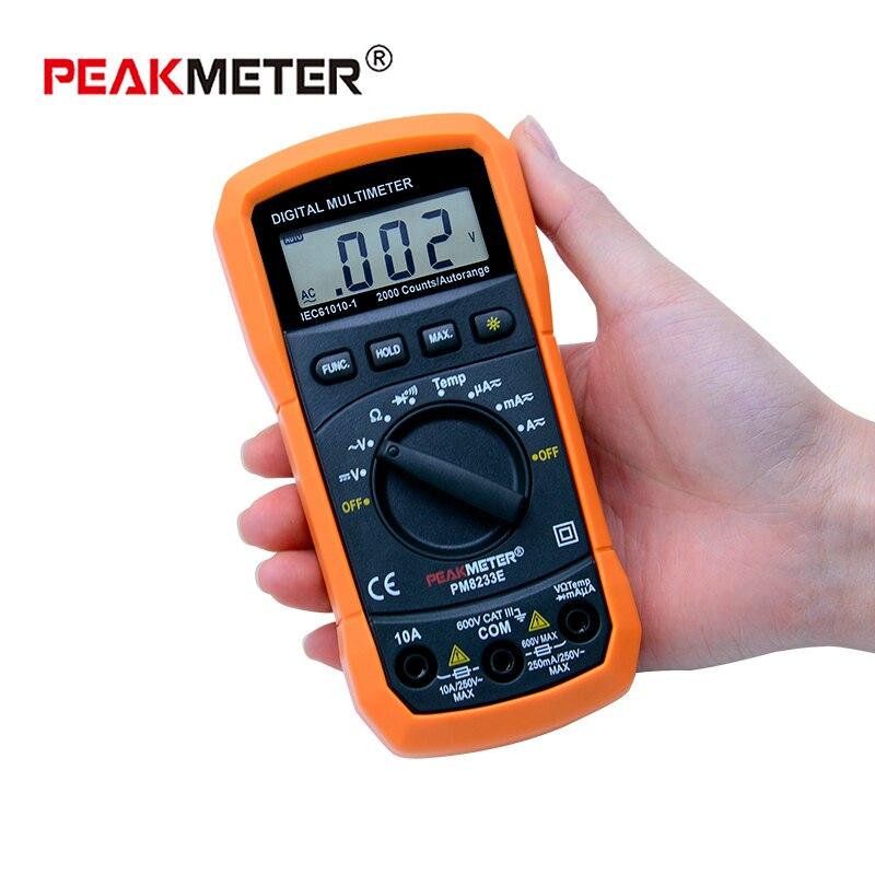 Multímetro digital AVO meter DC AC voltaje corriente resistencia temperaturetester con pluma de prueba de inducción peakmeter MS8233 serie