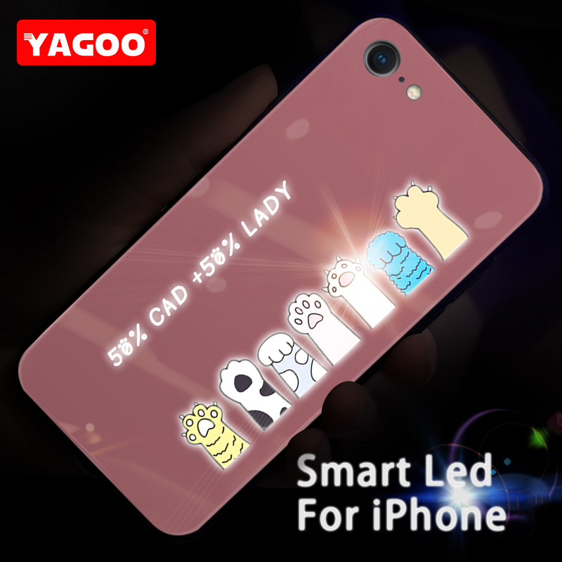 Yagoo Smart LED Glowing Phone Case For Apple iPhone 7 8 Plus Cases Back Cover Cute Animal Funda Luxury Silicone Glass Fashion