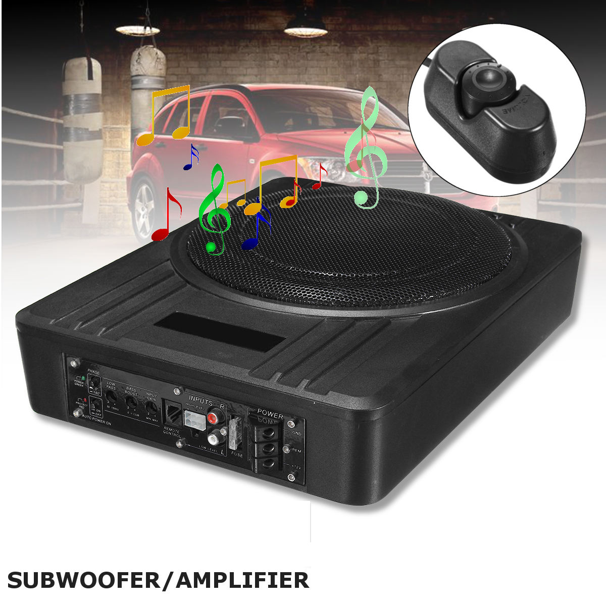 Kroak Universal 10inch 600w Slim Under Seat Powered Car Subwoofer Amplifier Amp Super Bass Speaker Subwoofers In Enclosed Systems From