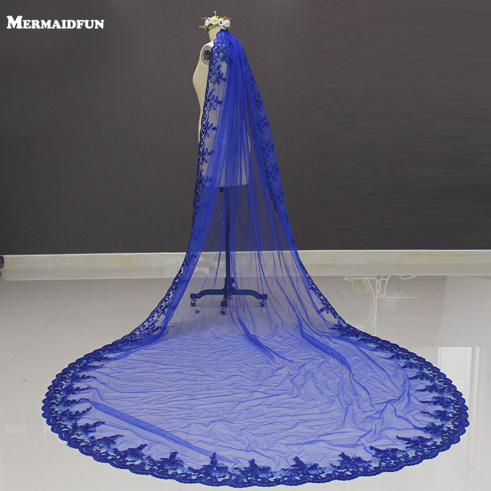 New Royal Blue 3 Meters Bling Sequins Lace Long Cathedral Wedding Veil Colorful Bridal Veil with Comb 2019