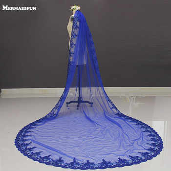 New Royal Blue 3 Meters Bling Sequins Lace Long Cathedral Wedding Veil Colorful Bridal Veil with Comb 2019 - DISCOUNT ITEM  50% OFF All Category