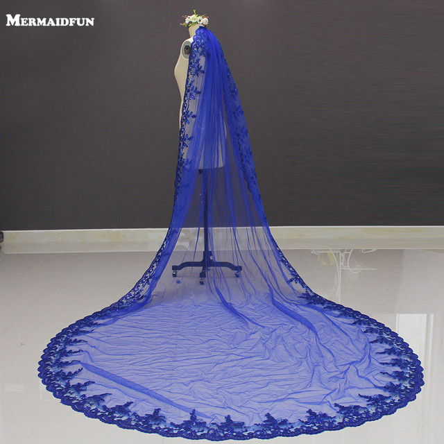 Yeni kraliyet mavi 3 metre Bling Sequins dantel uzun katedrali düğün duvağı renkli gelin peçe ile tarak