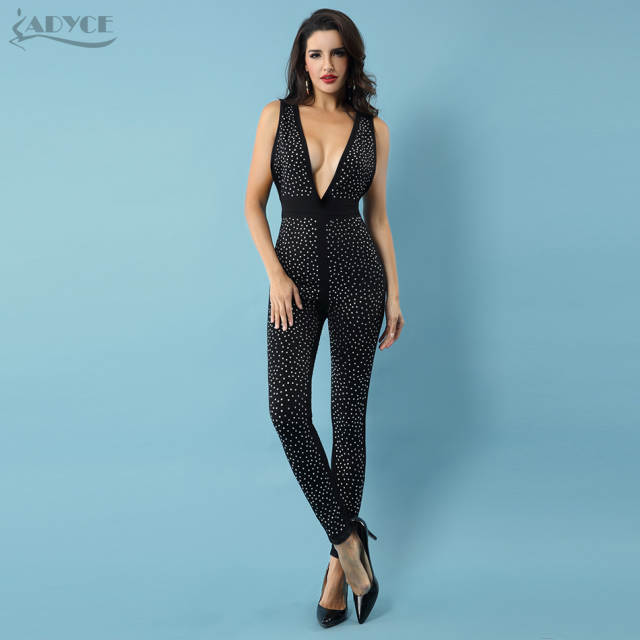 20aed6ab59 Adyce 2019 New Summer Women Jumpsuits Elegant Beading Sexy Deep V Neck  Sleeveless Celebrity Night Club