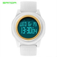 SANDA Fashion Women Sports Watches Waterproof 30m Ladies Ultra Thin LED Digital Watch Swimming Diving Hand