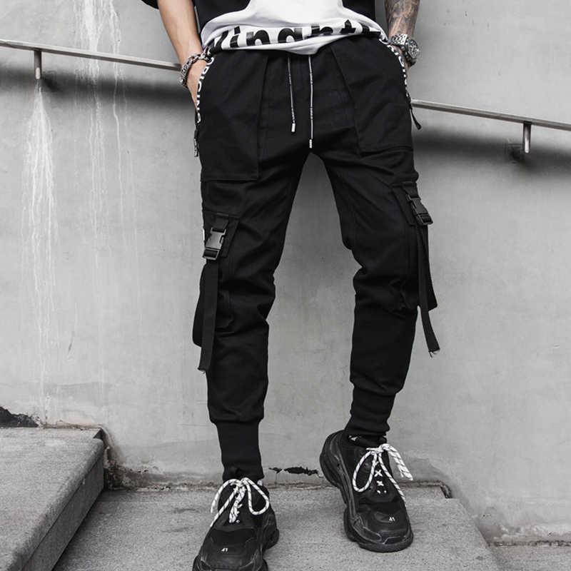 Yeni yan baskı fermuar cepler erkek Jogger pantolon bahar Hip Hop harem pantolon moda kurdeleler erkek eşofman Streetwear kalem