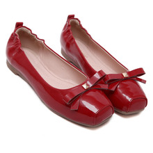Oxford Shoes For Women 2016 High quality Soft Women Flat Shoes Square Toe Casual Ballet Flats Plus Size 35 – 40